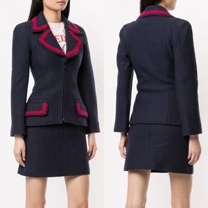 Chanel 1997 Navy Wool Zip Up Fitted Blazer